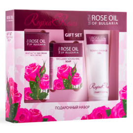 Darčekový set s ružovým olejom pre ženy - denný krém, mydlo a sprchový gél  - Biofresh